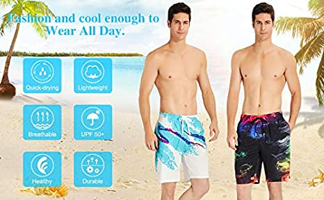 Boys Dominican Flag Classic Quick Dry Swim Trunks Elastic Drawstring Surfing Shorts with Pocket