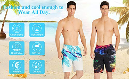 Night Starry Sky Mens Quick Dry Beach Board Swim Trunks Shorts White