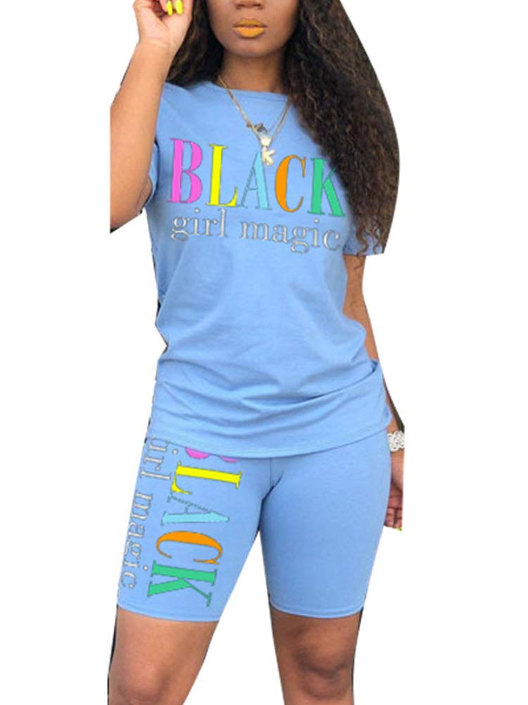 Uni Clau Women's Letter Two-Piece Outfit Tracksuit - Casual Short Sleeve T-Shirts Bodycon Shorts Set Jumpsuit Rompers Light Blue by Uni Clau