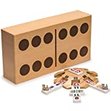 Complete Mexican Train Dominoes Set with Double 12 Dominoes Featuring Numerals, Wooden Hub, Train Markers, and Scorepad