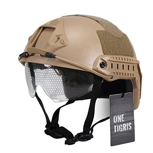OneTigris Military Helmet MH Type Helmet Tactical Airsoft Paintball Helmet with Goggle (Tactical Airsoft Helmet)