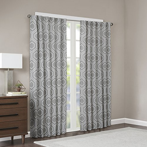 JLA Home INC Modern Silver Curtains For Living room, Kendall Geometric Rod Pocket Curtains For bedroom, Polyester Back Tab Window Curtains, 50X95, 1-Panel - Dining Room Kendall