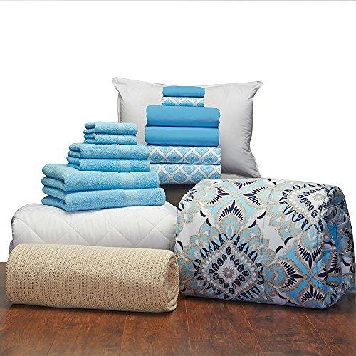 Girls 16 Piece Starter Pak Kaleidoscope Aqua Twin XL College Dorm Bedding and Bath Set (Starter Pak)