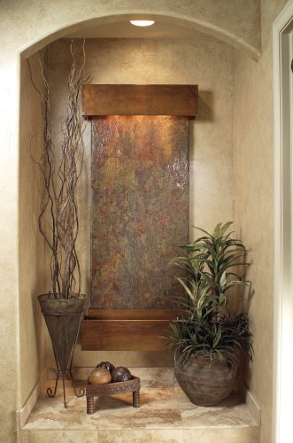 Inspiration Falls Rustic Copper Rajah Multicolor Slate Wall Fountain by Adagio