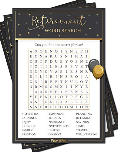 Retirement Party Word Search Game Cards (50 Pack) - Retirement Party Games Ideas Activities Supplies - Job Work Retiree Celebration