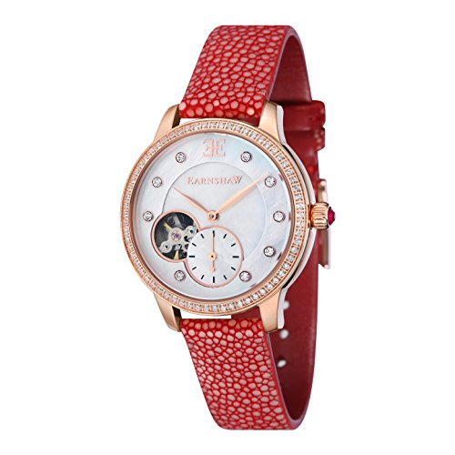 Thomas Earnshaw Women's 'LADY' Automatic Stainless Steel and Leather Casual Watch, Color:Red (Model: ES-8029-08)