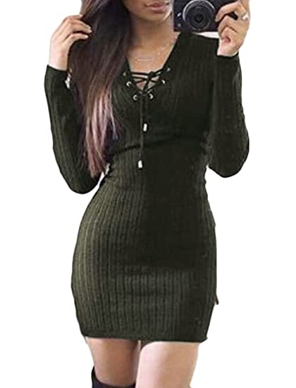 8a9e99553 SYTX Womens Sexy Solid V-neck Lace Up Long Sleeve Bodycon Midi Sweater Dress  Armygre