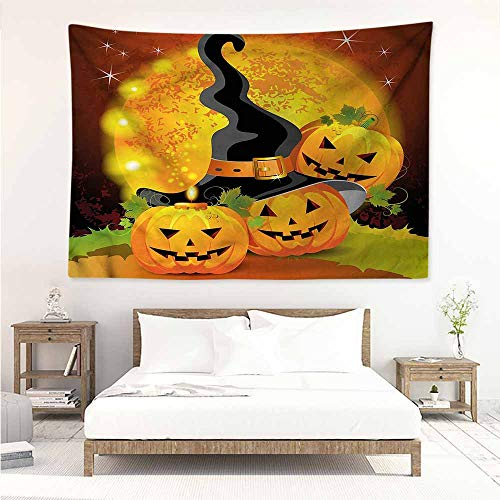 Sunnyhome Living Room Tapestry,Halloween Witch Hat Spooky Pumpkins,Living Room Background Decorative Painting,W63x47L ()