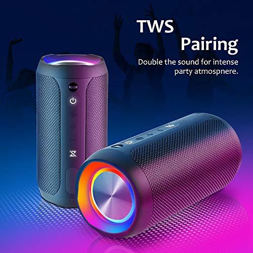 Wireless Speaker Bluetooth, COOCHEER 24W Bluetooth Portable Speaker with Party Light, IP67 Waterproof Portable Wireless… 5