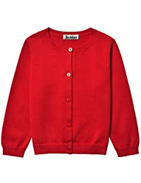 Bhome Little Girls Long Sleeve Solid Knit Cardigan Sweater Button Front Uniform