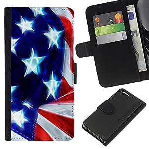 eJoy---La carpeta del tirón la caja de cuero de alta calidad de la PU Caso protector - Apple iPhone 5C - --Star and Stripes;