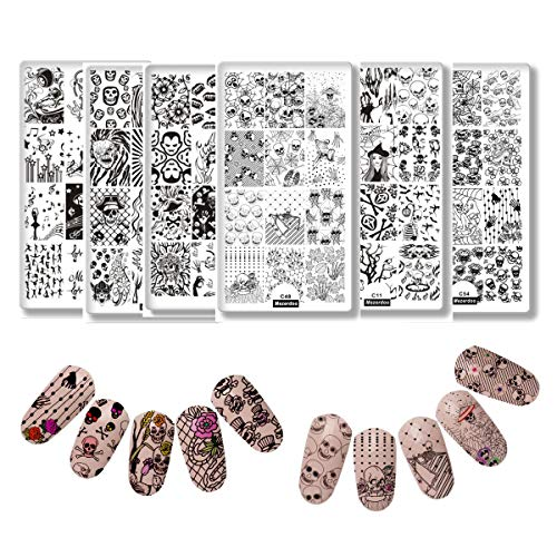 6pcs Nail Stamping Plate Halloween Series Celebration Rectangle Manicure Stamp Template Skull Moth Ghost Nail Art Image Plate Reusable DIY Nail Stencils Tools ()