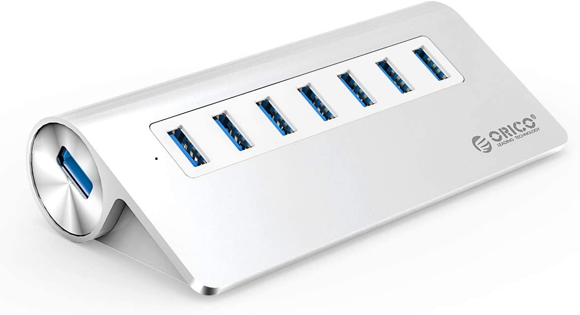 ORICO Aluminum 7 Port Super Speed USB3.0 Hub with 24W(12V/2A) Power Adapter and 3.3Ft. USB3.0 Cable Cord for iMac MacBook PC Laptop