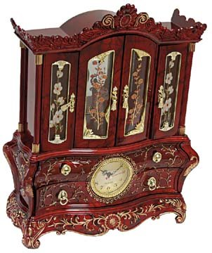 UPC 721794131366, Musical Jewelry Box Cabinet with Clock Vintage Theme