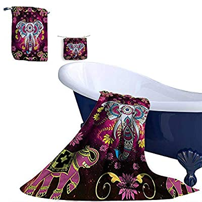 Leigh R. home 3 Piece Bath Towel Set,ellished Oriental Elephant with Double Exposure Space Effects and Flowers Bath Towels and Hand Towel and Washcloths.