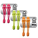 Lock Laces Elastic No Tie Shoe Laces (Pack of 3) (Pink-Green-Orange)