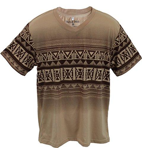 Marx & Dutch™ Short Sleeve Fashion Graphic Geometric Printed V-Neck T-Shirts 125112 Brown - V-neck Cotton Blend Geometric