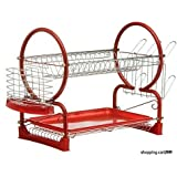 2 Tier Chrome Dish Drainer Sink Cutlery Rack Holder Plates Tray Rack Red New by Professional