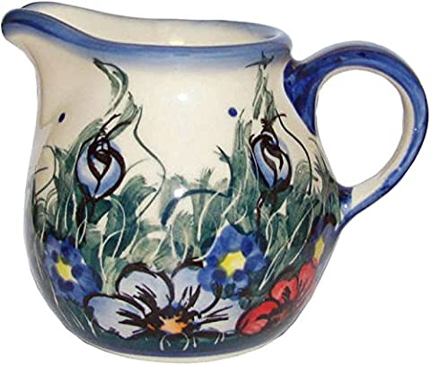 Polish Pottery 7 oz Creamer, Warm Cream with Blue, Orange, and Red Flowers and Leaves Motif - Wild - Blue Flowers Creamer