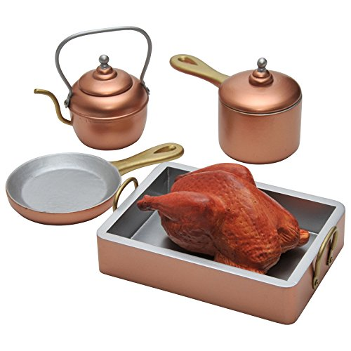 Felicity Kitchen - The Queen's Treasures 7 Piece 18 Inch Doll Copper Look Kitchen Pots, Pans, Tea Kettle Plus Roast Chicken, Great Accessory for Use with American Girl Dolls & Furniture