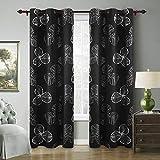 Deconovo Kidsroom Blackout One Pair Room Darkening Bedroom Goat Willow Leaf Flower Curtains, 42 W x 95 L, Black Review
