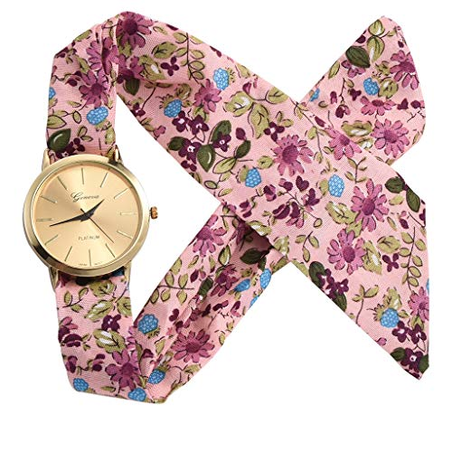 Watches for Women Watch Fashion Flower Cloth Design Bands Small and Exquisite Dial (Pink)