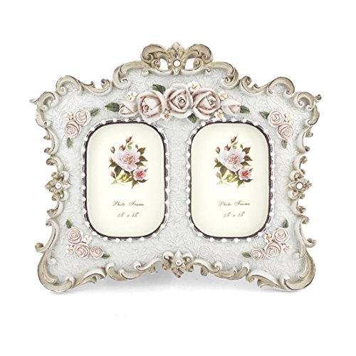 Double openings 2.5x3.5 Inch Victorian Floral Picture Frame ()