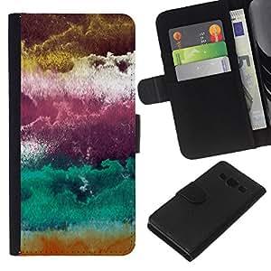 eJoy carpeta del tirón la caja de cuero de alta calidad de la PU Caso protector/Samsung Galaxy A3/-Ciruela púrpura abstracta Nubes Arte