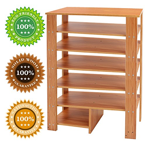 Jerry & Maggie - 6 Tier Wood MDF Solid Shelf Shoe Rack with One Footstool/Shoe Storage Shelves Free Standing Flat Shoe Racks Classic Style -100% Multi Function Shelf Organizer - Natural Wood Tone by Jerry & Maggie (Image #3)