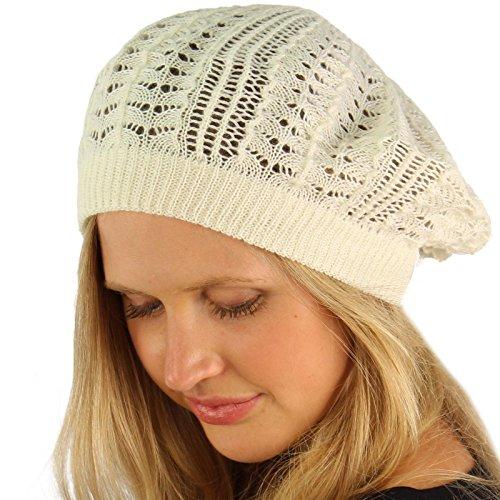 New Light Crochet Knit Slouchy Tam Beret Cap Hat White (Crochet New Beret)