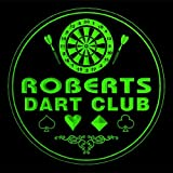 4x ccts1043-g ROBERTS Dart Club Game Room Bar Beer 3D Engraved Drink Coasters