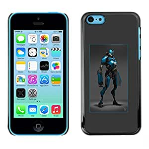 Colorful Printed Hard Protective Back Case Cover Shell Skin for Apple iPhone 5C ( Hero Blue Black Robot Costume Comic Character )