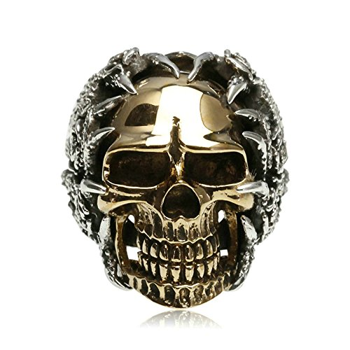 Adisaer Biker Rings Silver Ring for Men Hollow Skull Ring Size 9 Vintage Punk Jewelry by Adisaer