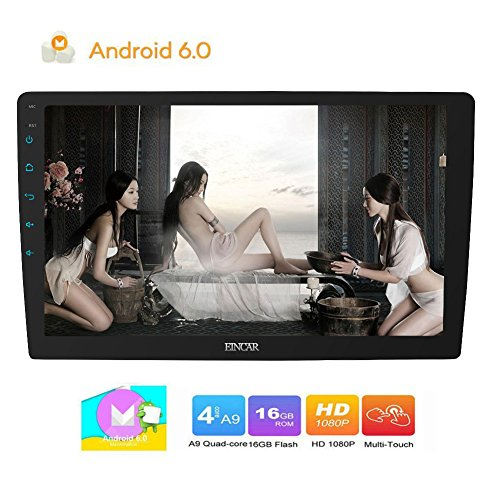 Android 6.0 Car Stereo with Quad-core CPU 10.1 inch Flexiable Full Touchscreen in Dash Double din Autoradio Bluetooth GPS Navigation Headunit support WIFI Mirror Link External Mic
