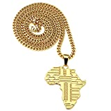TIDOO Jewelry Hip Hop Gold Chain Map of Africa Pendant Necklaces