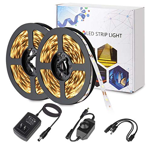 (BINZET Warm White Led Strip Lights 600 LEDs SMD 2835 Tape Light Kit with UL Power Supply and Dimmer 32.8ft Dimmable Led Light Strip for Home Kitchen)