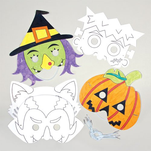 Halloween color-in Masks for Children to Decorate (Pack of 6)