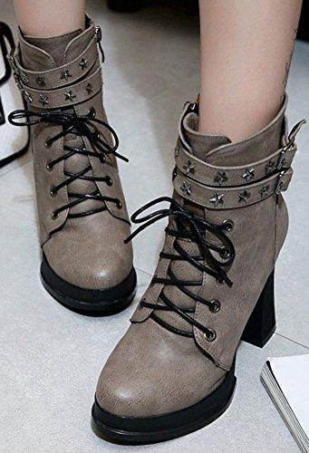 Idifu Moda Para Mujer Zip Up Punta Estrecha High Chunky Heel Tobillo Alto Martin Botas Gris