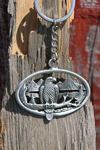 Hastings Pewter Company Lead Free Pewter Bald Eagle Keychain Made in Michigan bird scene key chain