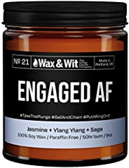 WAX & WIT Scented Soy Candle for Home - Jasmine, Ylang Ylang, Sage - Funny Wedding Gifts, Engagement Gifts