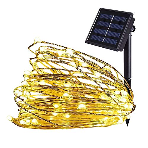 JMEXSUSS Indoor, Outdoor 8 Modes 200 LED 65.6ft Solar Powered Waterproof Fairy String Copper Wire Lights for Christmas, Bedroom, Patio, Wedding, Party, Warm White