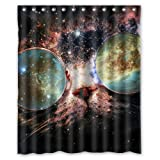 "Stylish Living Elegant Space Cat Bathroom Shower Curtain (60"" x 72"" ) for Home / Traval / Hotel with Hooks"