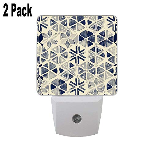 Hand Painted Triangle & Honeycomb Ink Pattern Indigo & Cream Set of 2 Plug in LED Night Lights with Smart Dusk to Dawn Sensor Night Lamp for Bedroom Baby Room Kitchen Hallway and Stairway