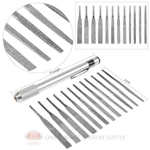- 12pc Assorted Grit and Size Diamond Needle File Set Jewelers Tools Handle