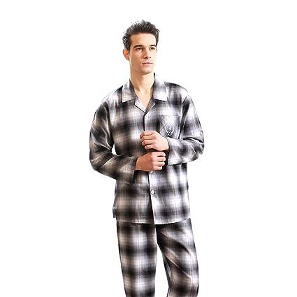 Pijamas Primavera Y Verano Cuadros De Algodón De Manga Larga para Hombres Sencillos Se Pueden Usar
