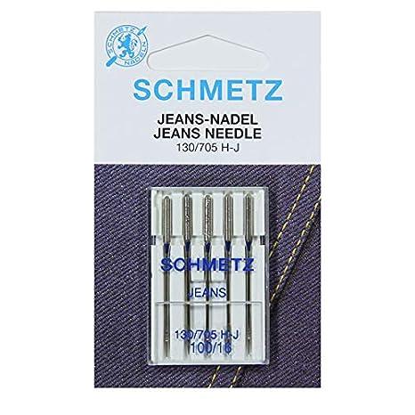SCHMETZ Agujas para máquina de coser de tela vaquera 130/705 H-J, NM 100/16, 5 piezas: Amazon.es: Hogar