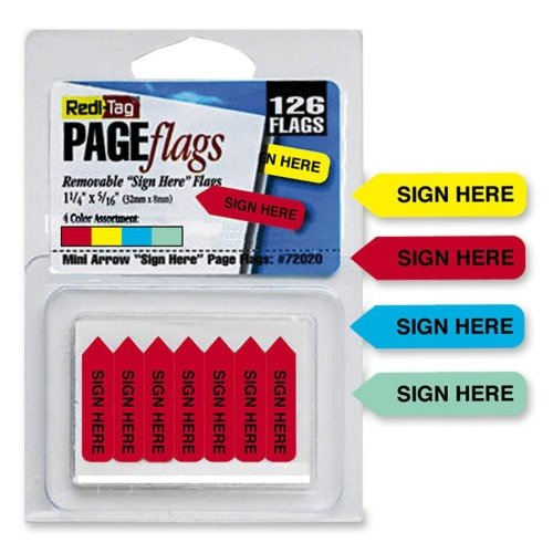 Redi-Tag Mini Arrow Page Flags, inchSign Here inch, Blue/Mint/Red/Yellow, 126 ()
