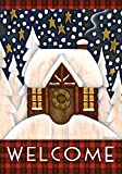 Toland Home Garden Snowy Cabin 28 x 40 Inch Decorative Winter Welcome Cozy Snow Holiday House Flag