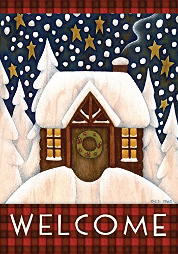 Toland - Snowy Cabin - Decorative Welcome Winter Cozy Snow Holiday USA-Produced House - Country Porch Christmas