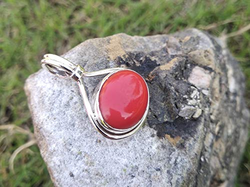 Coral Pendant, 925 Sterling Silver Pendant, Pendant For Necklace, Beautiful Red Jewelry, Wedding & Engagement Pendant, Authentic Silver Pendant, Unique & Ultimate Pendant, Xmas Day Gift Jewelry, Gift